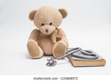 bear stethoscope medical medicine on white background isolation