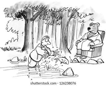 The bear is teaching, but the man struggles to catch a salmon.