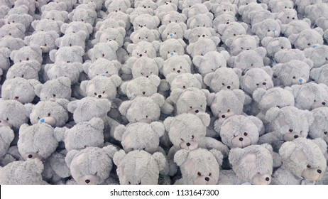 bear toys lined up in rows