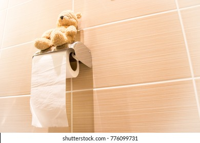 Bear is using bathroom in the morning