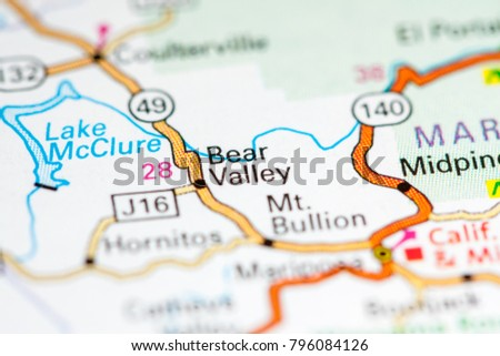 Bear Valley California USA On Map Stock Photo (Edit Now) 796084126 on