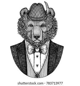 Bear wearing german tirol hat Bavarian national hat