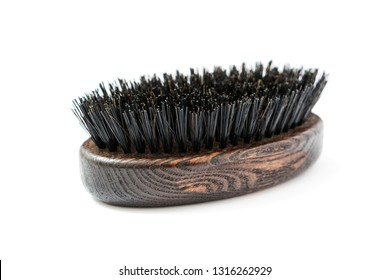 Beard Brush - Oval shaped brush wood with natural bristles on white background