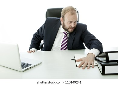 beard business man is angry and throw documents desk