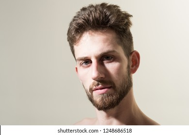 Beard divides the boys from the men. Man in morning after wakeup. Personal grooming and morning routine. Bearded man needs beard barber. Mens hair grooming. Barber shop, copy space.