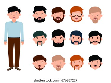 Beard man character creation set. The options of beards and mustaches for young men. Flat style illustration.