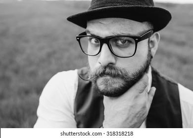 beard man in field