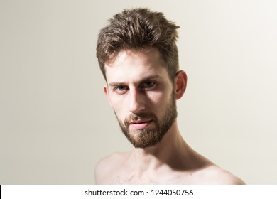 The beard trend will never truly be gone. Bearded man needs beard barber. Personal grooming and morning routine. Mens hair grooming. Barber shop. Man in morning after wakeup, copy space.