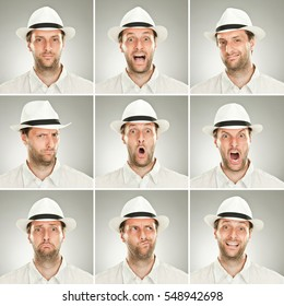 beard young elegant caucasian man with hat collection set of face expression like happy, sad, angry, surprise, yawn on grey background
