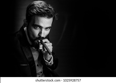 bearded, business man in suit, smokes a cigar and looks into the camera, image with space for text