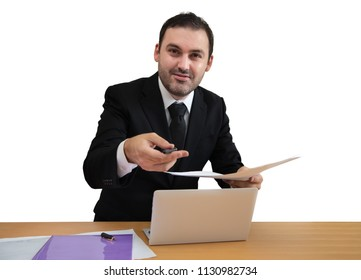 bearded businessman giving you a pen isolated on a white background