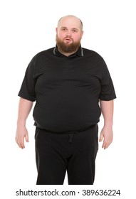 Bearded Fat Man in a Black Shirt, isolated on white background