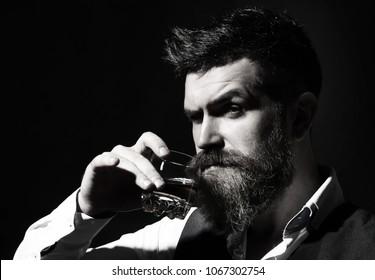 Bearded gentleman drink cognac.