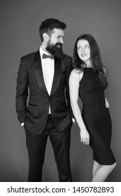 Bearded gentleman wear tuxedo girl elegant dress. Formal dress code. Visiting event or ceremony. Couple ready for award ceremony. Main rules picking clothes. Corporate party. Award ceremony concept.