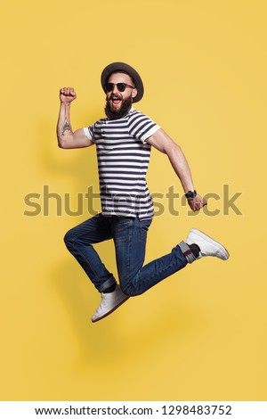 Bearded hipster man in