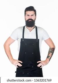 Bearded hipster wear apron. Man cook brutal hipster. Fast food restaurant. Serious bearded cook. Restaurant staff. Hipster professional barista apron uniform. Waiter or bartender. Ready serve drink.