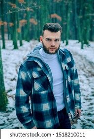 Bearded lumberjack checkered clothes. Brutal man walk in forest. Hipster lifestyle. Masculinity and brutality. Lumberjack style. Stylish guy lumberjack. Well groomed hipster. Lumbersexual concept.