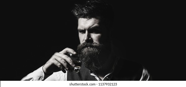 Bearded male. Portrait of a handsome bearded in elegant tuxedo, drink cognac. Attractive man with a whiskey.  Stylish handsome male in suit drink from glass brandy, cognac. Black and white.