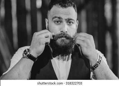 bearded man alone