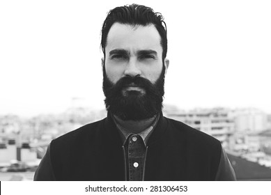 Bearded man black and white portrait