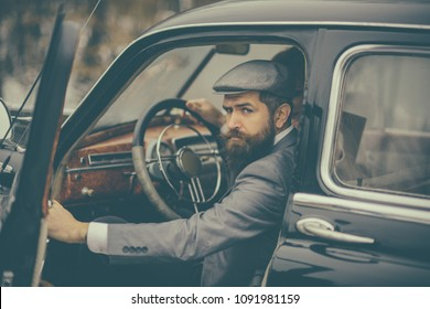 Bearded man in car. bearded man driver travel by car