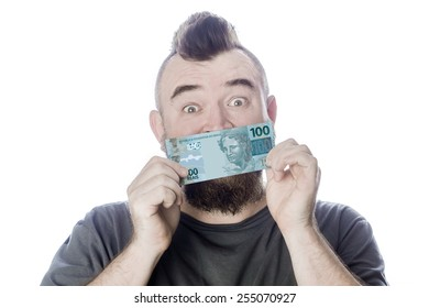 Bearded man closes his mouth Brazilian banknote