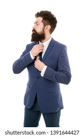 Bearded man confident posture isolated white. Hipster with beard formal suit office worker. Businessman formal suit. Modern businessman ofiice worker. Office life concept. He knows who is boss here.