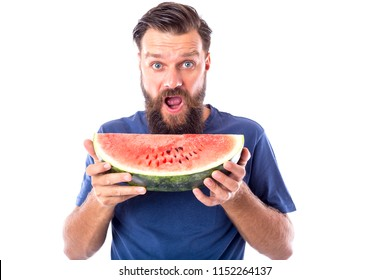 Bearded man eating holding a slice of watermelon isolated on white