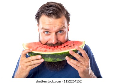 Bearded man eating watermelon isolated on white
