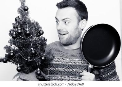 Bearded man with a fir tree