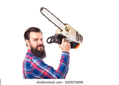 Bearded man holding a chainsaw isolated on a white background