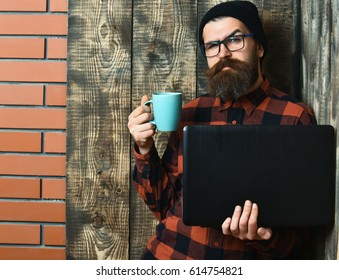 Bearded man, long beard. Brutal caucasian serious unshaven hipster holding laptop with mag or cup in red black checkered shirt with hat and glasses on brown vintage wooden studio background