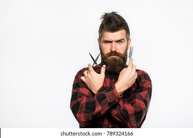 Bearded man, long beard, brutal, caucasian hipster with moustache. Mens haircut in barber shop. Barber scissors and straight razor, barber shop. Mens haircut, shaving. Male in barbershop.