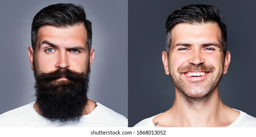 Bearded man with long beard and mustache or handsome hipster in barbershop. Shaved vs unshaven Barber hair salon. Before and after - Shutterstock ID 1868013052