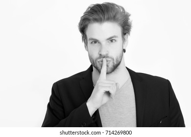 bearded man with long beard. unshaven business man with stylish hair in black jacket isolated on white background