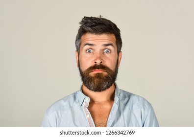 Bearded man looking skeptic raising eyebrows. Earnest expression. Thinking man with beard and mustache. Expressing distrust and strong confusion. Shocked man in casual clothes. Disbelief expression.