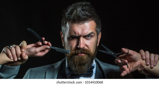 Bearded man, bearded male. Portrait beard man. Barber scissors and straight razor, barber shop. Vintage barbershop, shaving. Mustache men. Beard macho man. Brutal guy.