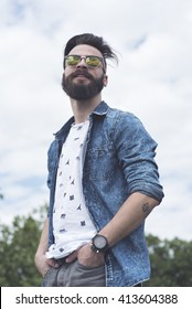 Bearded man posing