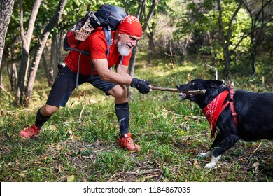 Bearded man in red shirt playing with dog. Outdoor travel concept
