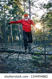 Bearded man in red shirt running in the pine forest at sunset. Trail running concept