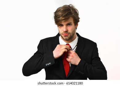 Bearded man, short beard. Caucasian stylish business man with moustache in elegant black suit and red tie posing in studio isolated on white background