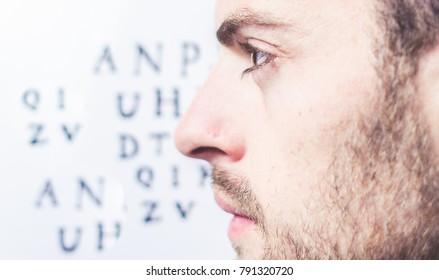 bearded man, vision check