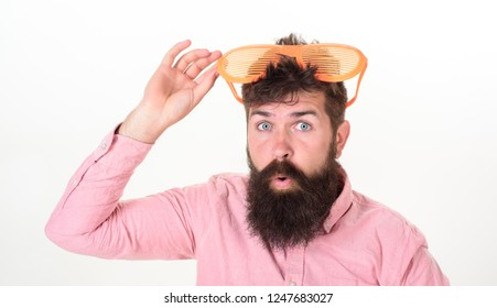 Bearded man wear sunglasses. How to get ready for your next vacation. Hipster wear shutter shades extremely big sunglasses. Sunglasses vacation attribute. Eye protection sunglasses summer accessory.