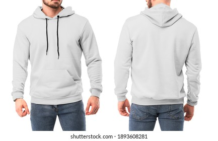 bearded man wears white hoodie back and front. isolated photo of man in white sweatshirt
