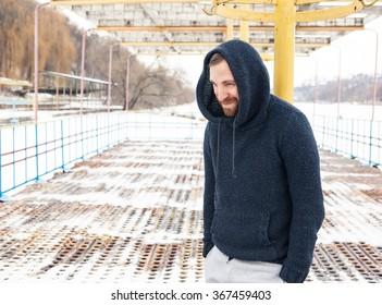 bearded man winter outdoors