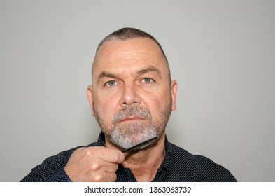 Bearded middle-aged man combing his greying goatee beard while looking at the camera in a concept of personal grooming and hygiene
