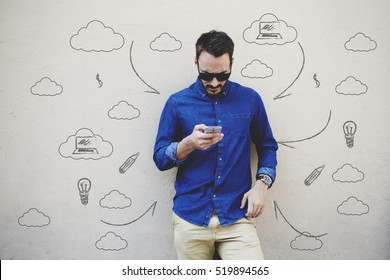 Bearded modern businessman concentrated reading world news in internet via mobile phone. Hipster guy text messaging with friend via cell telephone. Infographics pattern elements and multimedia signs