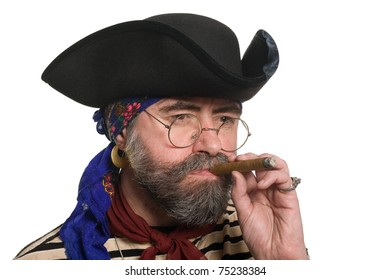 Bearded pirate with a cigar.
