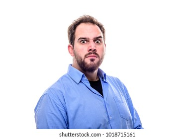Bearded scarry man looks straight at you