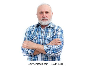 Bearded senior man in a stylish checkered shirt